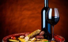 Обои вино, бокал, овощи, помидор, колбаса, Wine, Vegetables