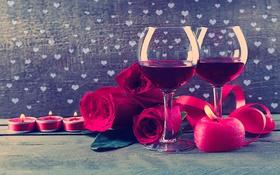 Обои огонь, вино, розы, свечи, бокалы, сердечки