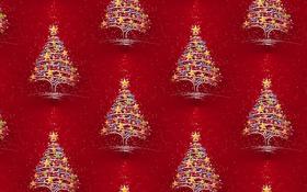 Обои огни, фон, праздник, текстура, арт, Новый год, ёлочка