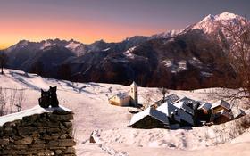 Обои зима, снег, кошки, горы, дома, Италия, церковь