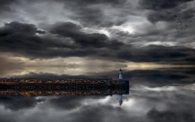 Обои море, ночь, маяк, пирс