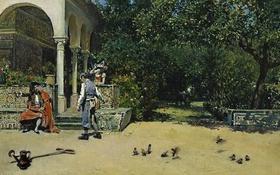 Обои картина, Павильон Карла V в Садах Альказар в Севилье, Раймундо Мадрасо
