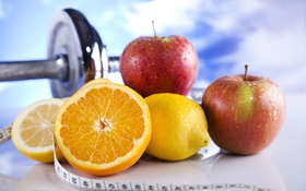 Обои healthy food, dumbbells, apples, fruit