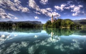 Картинка облака, озеро, отражение, Словения, Bled Island