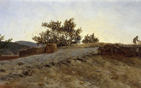 Обои пейзаж, Закат, картина, Карлос де Хаэс, Арагон