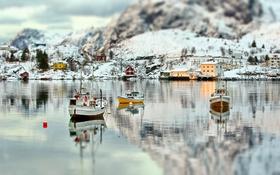 Картинка зима, море, снег, пейзаж, горы, природа, сапоги