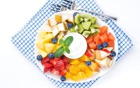 Обои яблоко, апельсин, киви, клубника, груша, фрукты, ананас