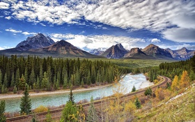 Обои Bow River, Банф, Canada, Alberta, Banff National Park, железная дорога, Канада