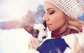 Картинка зима, девушка, шапка, собака, блондинка, профиль, пёс