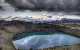 Обои озеро, кратер, VITI CRATER