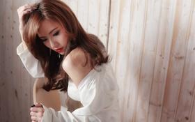Обои девушка, лицо, стиль, фон, макияж, азиатка, красотка