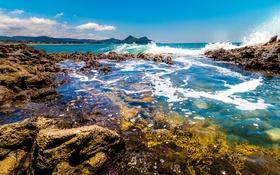 Обои море, небо, пена, солнце, камни, побережье, Новая Зеландия
