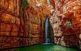 Обои вода, скалы, водопад, поток, ущелье, Израиль