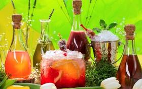 Обои бутылки, фрукты, напитки, лимонад