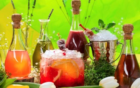 Картинка бутылки, фрукты, напитки, лимонад