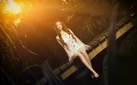 Картинка девушка, свет, мост