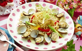 Обои овощи, моллюски, паста