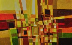 Обои линии, абстракция, краски, картина, холст