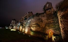 Обои ночь, Франция, Le Mans, склон, крепость