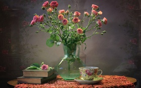 Обои розы, книги, чашка, текстура, букет