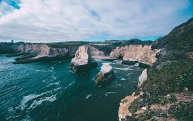 Картинка океан, скалы, берег, волна, прибой, Исландия