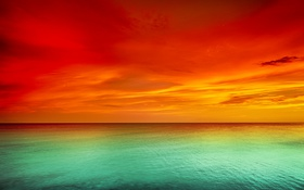 Обои море, небо, закат, sky, sea, landscape, nature
