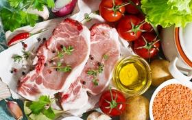 Обои лук, мясо, перец, помидоры, салат, специи, чечевица