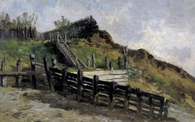Обои пейзаж, картина, Карлос де Хаэс, Спуск к Пляжу