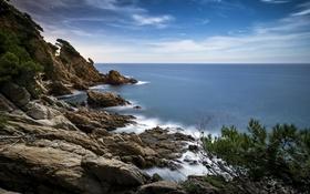 Картинка море, небо, облака, камни, скалы, берег, горизонт