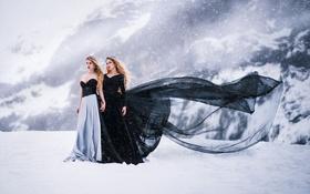Картинка Anna, Black, Snow, White, Beauty, Ice, Models