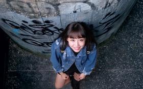Картинка девушка, лицо, улыбка, волосы, азиатка, джинсовка
