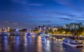 Обои ночь, мост, огни, река, Лондон, Великобритания, набережная