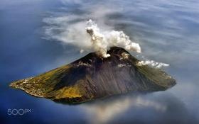 Обои вулкан, остров, город, море