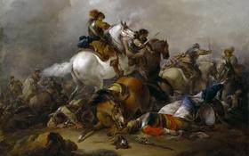 Обои картина, Атака Кавалерии, Херман ван Лин