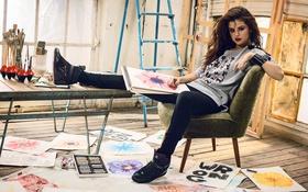 Картинка взгляд, волосы, актриса, арт, красавица, певица, selena gomez
