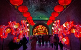 Обои огни, люди, Китай, Шэньси, Южные ворота, Сиань