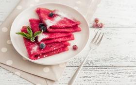 Обои ягоды, berry, тарелка, вилка, блины, выпечка, блинчики