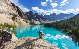 Обои Canada, Moraine, озеро, Banff National park, lake, лес, landscape