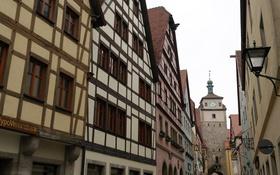 Обои улица, часы, башня, дома, Германия, Бавария, Ротенбург-на-Таубере