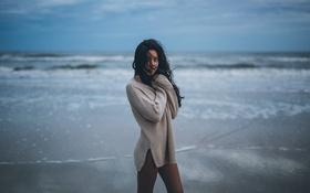 Картинка пляж, девушка, локоны