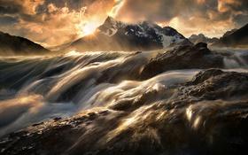 Обои горы, река, поток