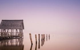 Картинка мост, туман, озеро