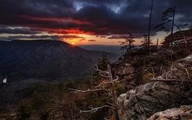 Обои закат, горы, природа