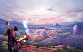 Обои фиолетовый, облака, круги, горы, полосы, ленты, река