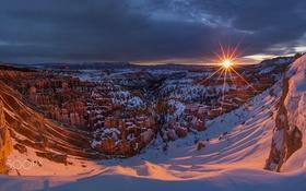 Обои закат, снег, скалы, солнце