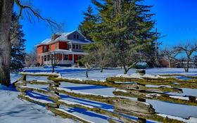 Обои Канада, небо, дом, забор, деревья, зима, снег