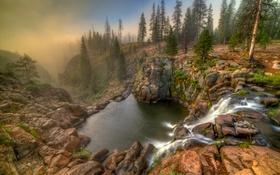 Обои лес, деревья, туман, камни, скалы, водопад, hdr