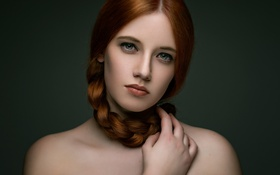 Обои лицо, портрет, красавица, коса, рыжая