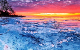 Обои лед, озеро, зарево, Северная Америка, Эри