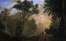 Обои картина, Клод Лоррен, Пейзаж со Святим Онофрием